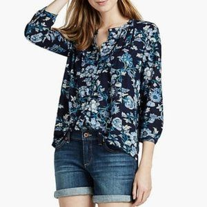 Lucky Brand Floral Vines Top in Blue Multi